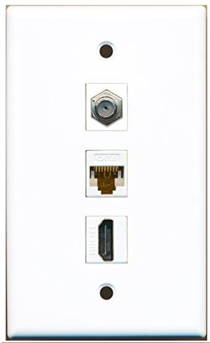 RiteAV - 1 Port HDMI and 1 Port Coax Cable TV- F-Type and 1 Port Cat6 Ethernet White Wall Plate