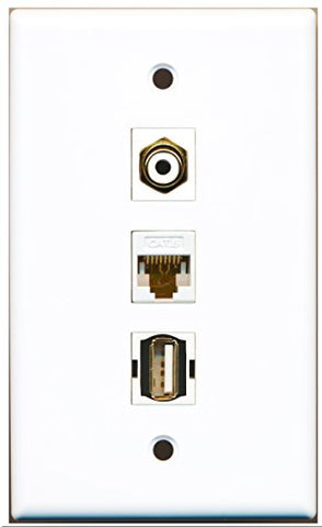 RiteAV - 1 Port RCA White and 1 Port USB A-A and 1 Port Cat6 Ethernet White Wall Plate