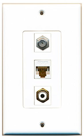 RiteAV - 1 Port RCA White and 1 Port Coax Cable TV- F-Type and 1 Port Cat6 Ethernet White Decorative Wall Plate Decorative