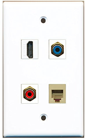 RiteAV - 1 Port HDMI 1 Port RCA Red 1 Port RCA Blue 1 Port Phone RJ11 RJ12 Beige Wall Plate