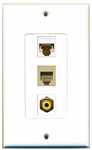 RiteAV - 1 Port RCA Yellow and 1 Port Phone RJ11 RJ12 Beige and 1 Port Cat6 Ethernet White Decorative Wall Plate Decorative