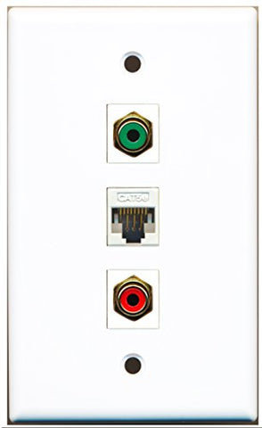 RiteAV - 1 Port RCA Red 1 RCA Green 1 Cat5e Ethernet White Wall Plate