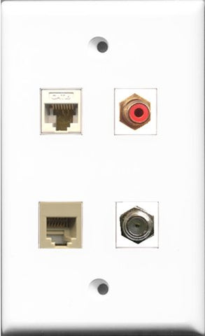 RiteAV 1 Port RCA Red and 1 Port Coax Cable TV- F-Type and 1 Port Phone RJ11 RJ12 Beige and 1 Port Cat6 Ethernet White Wall Plate