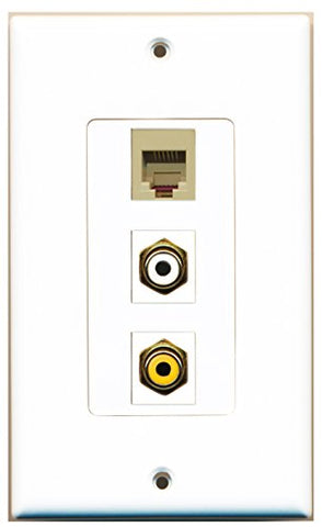 RiteAV - 1 Port RCA White and 1 Port RCA Yellow and 1 Port Phone RJ11 RJ12 Beige Decorative Wall Plate Decorative
