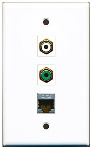 RiteAV - 1 Port RCA White and 1 Port RCA Green and 1 Port Shielded Cat6 Ethernet Wall Plate