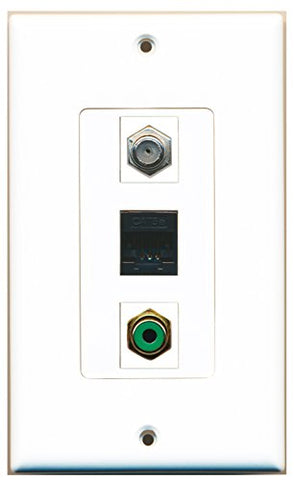RiteAV - 1 Port RCA Green and 1 Port Coax Cable TV- F-Type and 1 Port Cat5e Ethernet Black Wall Plate Decorative