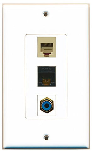 RiteAV - 1 Port RCA Blue and 1 Port Phone RJ11 RJ12 Beige and 1 Port Cat6 Ethernet Black Decorative Wall Plate Decorative