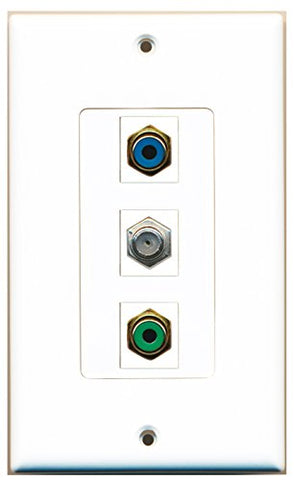 RiteAV - 1 Port RCA Green and 1 Port RCA Blue and 1 Port Coax Cable TV- F-Type Decorative Wall Plate Decorative