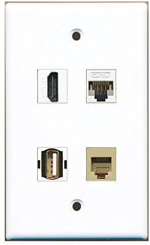 RiteAV - 1 Port HDMI 1 Port USB A-A 1 Port Phone RJ11 RJ12 Beige 1 Port Cat5e Ethernet White Wall Plate