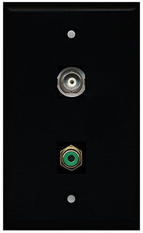 RiteAV - Black 1 Port RCA Green 1 Port BNC Wall Plate
