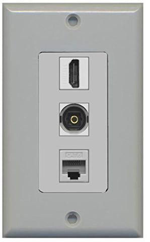 RiteAV - 1 Port HDMI and 1 Port Toslink and 1 Port Cat6 Ethernet Decorative Wall Plate - Gray