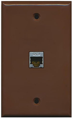RiteAV - 1 Port Cat6 Shielded Female-Female Wall Plate - Brown