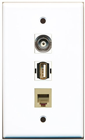 RiteAV - 1 Port USB A-A and 1 Port Phone RJ11 RJ12 Beige and 1 Port BNC Wall Plate