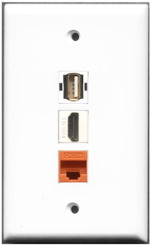 RiteAV - 1 Port HDMI 1 USB A-A 1 Cat5e Ethernet Orange Wall Plate