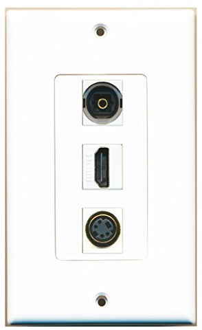 RiteAV - 1 Port HDMI and 1 Port S-Video and 1 Port Toslink Decorative Wall Plate