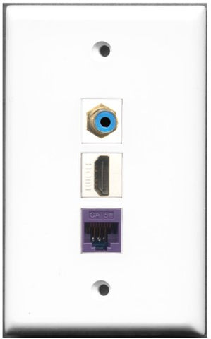 RiteAV - 1 Port HDMI 1 RCA Blue 1 Cat5e Ethernet Purple Wall Plate