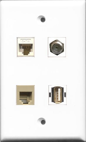 RiteAV 1 Port Coax Cable TV- F-Type and 1 Port USB A-A and 1 Port Phone RJ11 RJ12 Beige and 1 Port Cat6 Ethernet White Wall Plate