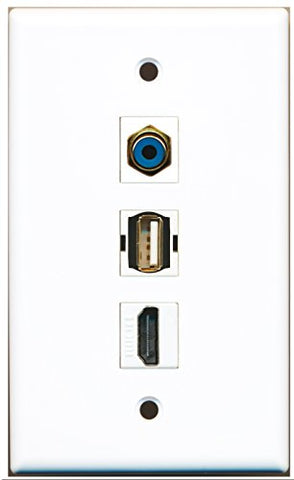 RiteAV - 1 Port HDMI and 1 Port RCA Blue and 1 Port USB A-A Wall Plate