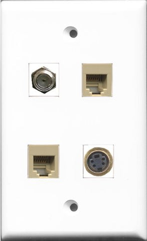 RiteAV 1 Port Coax Cable TV- F-Type 2 Port Phone RJ11 RJ12 Beige and 1 Port S-Video Wall Plate
