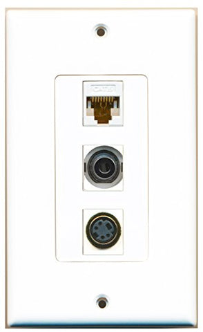 RiteAV - 1 Port S-Video and 1 Port 3.5mm and 1 Port Cat6 Ethernet White Decorative Wall Plate Decorative