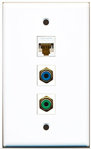 RiteAV - 1 Port RCA Green and 1 Port RCA Blue and 1 Port Cat6 Ethernet White Wall Plate