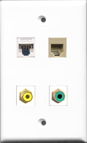 RiteAV 1 Port RCA Yellow and 1 Port RCA Green and 1 Port Phone RJ11 RJ12 Beige and 1 Port Cat5e Ethernet White Wall Plate