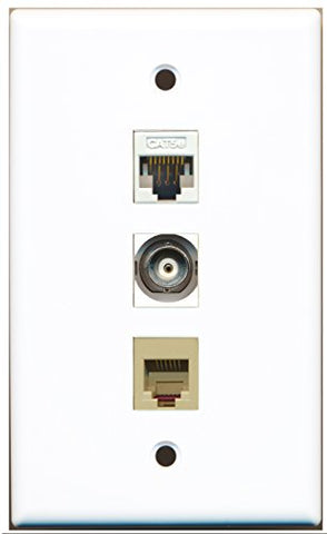 RiteAV - 1 Port Phone RJ11 RJ12 Beige and 1 Port BNC and 1 Port Cat5e Ethernet White Wall Plate