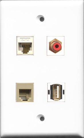 RiteAV 1 Port RCA Red and 1 Port USB A-A and 1 Port Phone RJ11 RJ12 Beige and 1 Port Cat6 Ethernet White Wall Plate