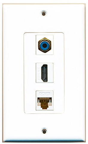RiteAV - 1 Port HDMI and 1 Port RCA Blue and 1 Port Cat6 Ethernet White Decorative Wall Plate