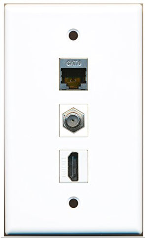 RiteAV - 1 Port HDMI and 1 Port Coax Cable TV- F-Type and 1 Port Shielded Cat6 Ethernet Wall Plate