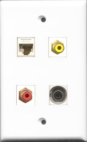 RiteAV 1 Port RCA Red and 1 Port RCA Yellow and 1 Port 3.5mm and 1 Port Cat6 Ethernet White Wall Plate