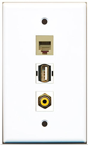 RiteAV - 1 Port RCA Yellow and 1 Port USB A-A and 1 Port Phone RJ11 RJ12 Beige Wall Plate