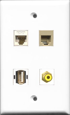 RiteAV 1 Port RCA Yellow and 1 Port USB A-A and 1 Port Phone RJ11 RJ12 Beige and 1 Port Cat6 Ethernet White Wall Plate