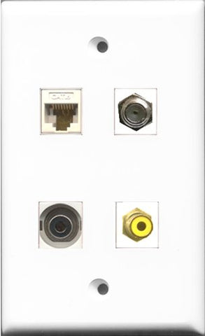 RiteAV 1 Port RCA Yellow and 1 Port Coax Cable TV- F-Type and 1 Port 3.5mm and 1 Port Cat6 Ethernet White Wall Plate