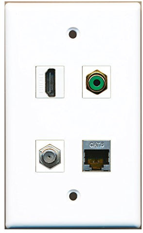 RiteAV - 1 Port HDMI 1 Port RCA Green 1 Port Coax Cable TV- F-Type 1 Port Shielded Cat6 Ethernet Wall Plate