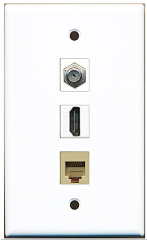 RiteAV - 1 Port HDMI and 1 Port Coax Cable TV- F-Type and 1 Port Phone RJ11 RJ12 Beige Wall Plate