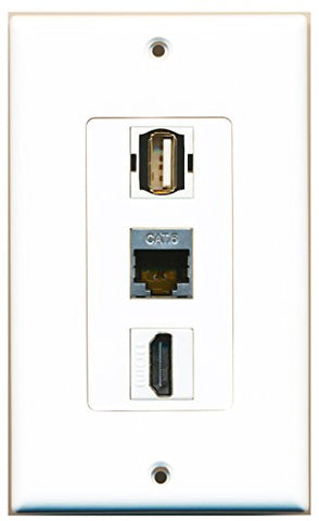 RiteAV - 1 Port HDMI and 1 Port USB A-A and 1 Port Shielded Cat6 Ethernet Decorative Wall Plate Decorative