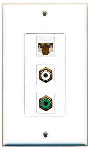 RiteAV - 1 Port RCA White and 1 Port RCA Green and 1 Port Cat6 Ethernet White Decorative Wall Plate Decorative