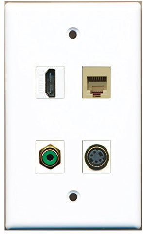 RiteAV - 1 Port HDMI 1 Port RCA Green 1 Port Phone RJ11 RJ12 Beige 1 Port S-Video Wall Plate