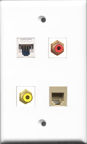 RiteAV 1 Port RCA Red and 1 Port RCA Yellow and 1 Port Phone RJ11 RJ12 Beige and 1 Port Cat5e Ethernet White Wall Plate
