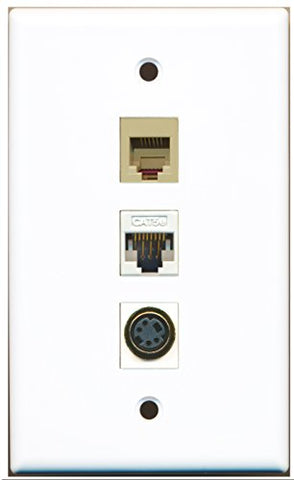 RiteAV - 1 Port Phone RJ11 RJ12 Beige and 1 Port S-Video and 1 Port Cat5e Ethernet White Wall Plate