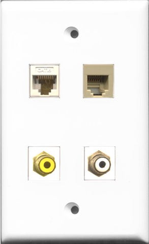 RiteAV 1 Port RCA White and 1 Port RCA Yellow and 1 Port Phone RJ11 RJ12 Beige and 1 Port Cat6 Ethernet White Wall Plate