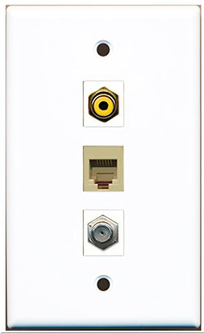 RiteAV - 1 Port RCA Yellow and 1 Port Coax Cable TV- F-Type and 1 Port Phone RJ11 RJ12 Beige Wall Plate