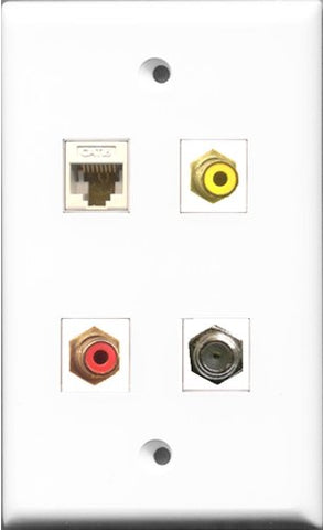 RiteAV 1 Port RCA Red and 1 Port RCA Yellow and 1 Port Coax Cable TV- F-Type and 1 Port Cat6 Ethernet White Wall Plate
