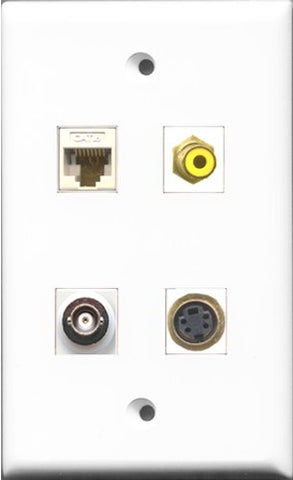 RiteAV 1 Port RCA Yellow and 1 Port S-Video and 1 Port BNC and 1 Port Cat6 Ethernet White Wall Plate