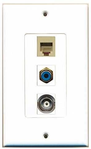 RiteAV - 1 Port RCA Blue and 1 Port Phone RJ11 RJ12 Beige and 1 Port BNC Decorative Wall Plate Decorative