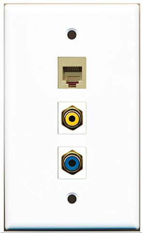 RiteAV - 1 Port RCA Yellow and 1 Port RCA Blue and 1 Port Phone RJ11 RJ12 Beige Wall Plate