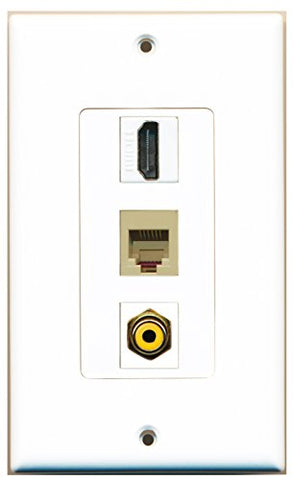RiteAV - 1 Port HDMI and 1 Port RCA Yellow and 1 Port Phone RJ11 RJ12 Beige Decorative Wall Plate Decorative