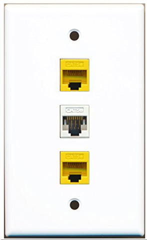 RiteAV - 1 Port Cat5e Ethernet White 2 Port Cat5e Ethernet Yellow Wall Plate