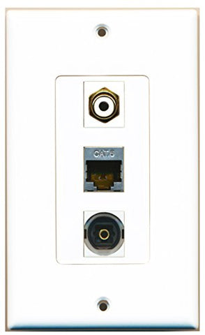 RiteAV - 1 Port RCA White and 1 Port Shielded Cat6 Ethernet and 1 Port Toslink Decorative Wall Plate Decorative